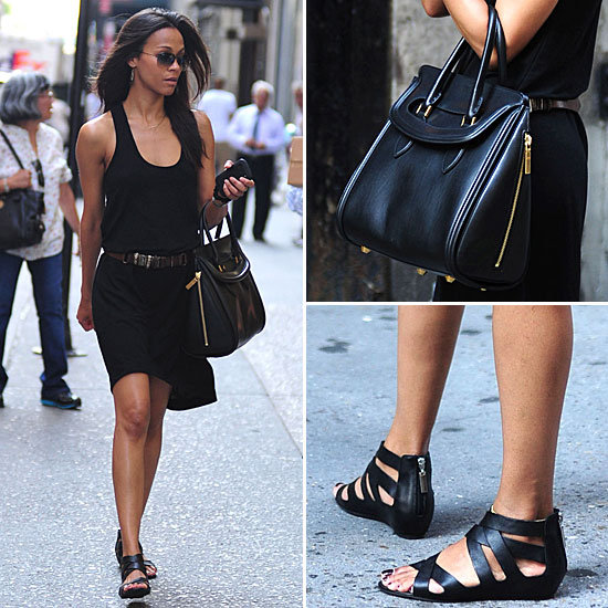 Zoe Saldana Black Dress NYC May 2012