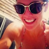 Hilary Rhoda flashed a smile while celebrating outside during the holiday weekend.  Source: Instagram user hilaryrhoda