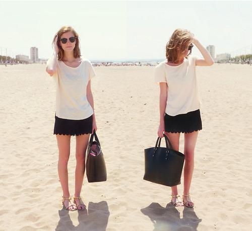 Scalloped shorts add a little seasonal polish to a plain white tee.  Photo courtesy of Lookbook.nu