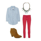 For a music-festival spin, top your denim with a breezy chambray button-down and finish with quintessential ankle boots. A statement necklace gives this dressed-down look a jolt of color and interest. Get the look:  MIH Paris Cropped Mid-Rise Skinny Jeans ($185) Boy. by Band of Outsiders Cotton-Chambray Shirt ($214, originally $305) Report Marks Bootie ($99) Dannijo Abacos Necklace ($436)