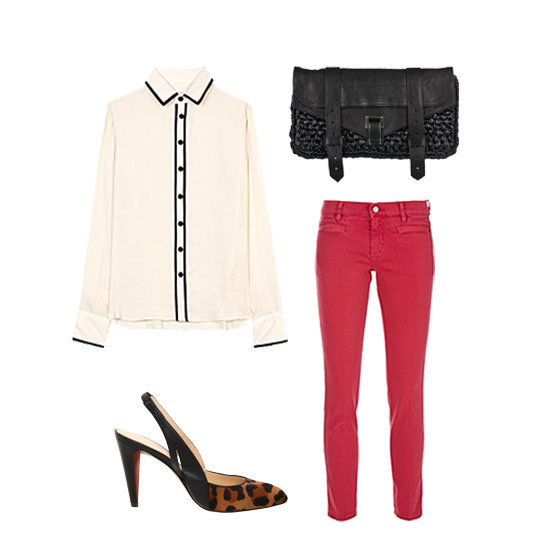 Channel the chicest approach to outfitting your bold bottoms with a silky button-up and a posh pair of leopard-print pumps for contrast. Add in a summery-feeling raffia clutch to take this look from work straight out to dinner. Get the look:  MIH Paris Cropped Mid-Rise Skinny Jeans ($185) Rag & Bone Satin Blouse ($332) Rebecca Minkoff Slinky Pump ($250) Proenza Schouler PS1 Raffia Pochette ($950)