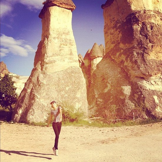Candice Swanepoel jumped for joy during a trip to Turkey.  Source: Instagram user angelcandices