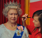 A Madame Tussauds employee worked on the wax figurine of Queen Elizabeth II.