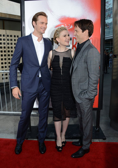 Stephen Moyer, Alexander Skarsgard and Anna Paquin were all smiles as the arrived on they red carpet at the fifth season premiere of True Blood.