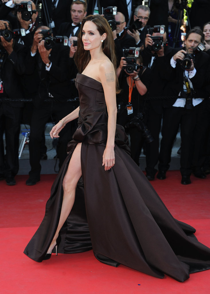 Angelina Jolie joined Brad Pitt at the red-carpet world premiere of his Tree of Life at the May 2011 Cannes Film Festival.