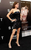 Angelina Jolie wore a short minidress to the July 2010 LA premiere of Salt.