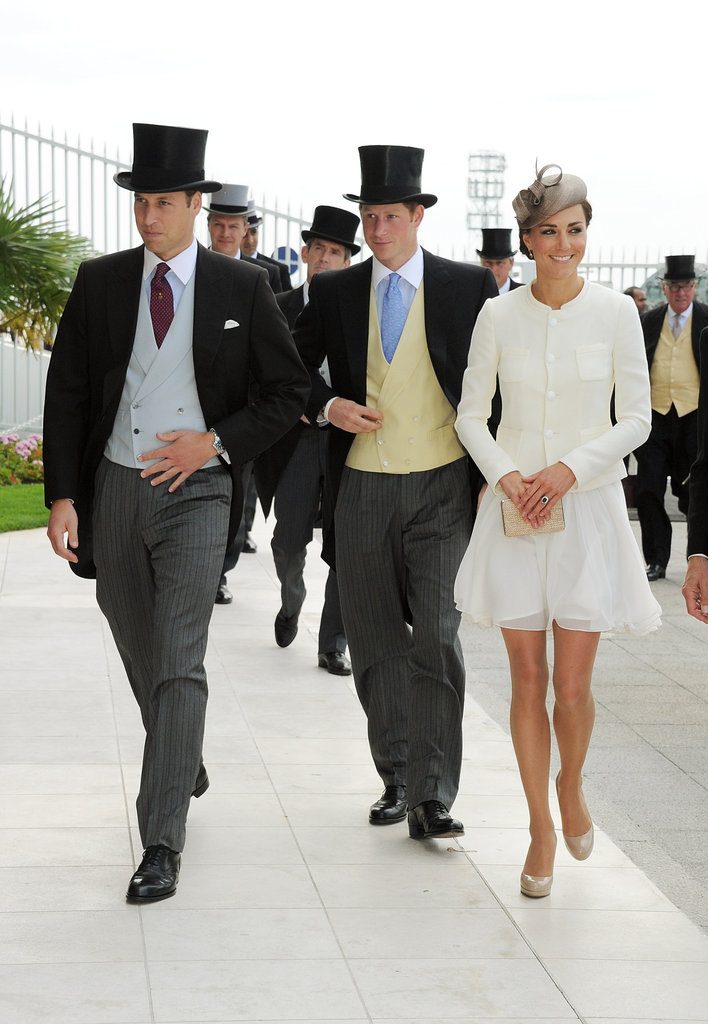 Prince William, Prince Harry, and Catherine, Duchess of Cambridge, arrived at the 2011 Epsom Derby.