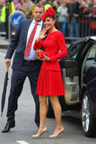 Kate Middleton wore red for the event.