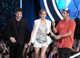 Leighton Meester held hands with her That's My Boy costars Andy Samberg and Adam Sandler.