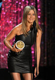 Jennifer Aniston rocked a black leather dress.