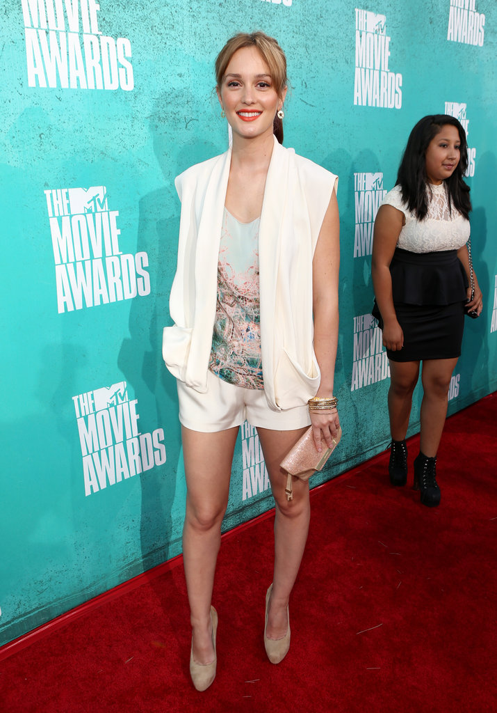 Leighton Meester wore white at the 2012 MTV Movie Awards.