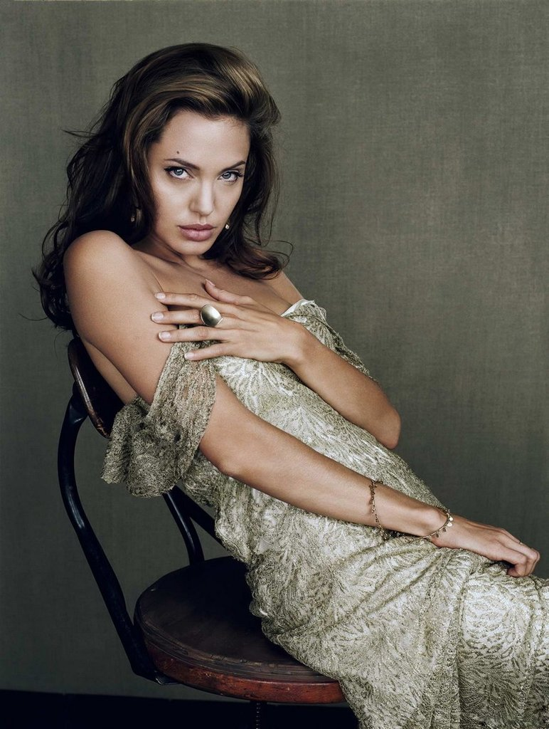 Angelina Jolie wore a silky dress for her July 2007 Esquire shoot.