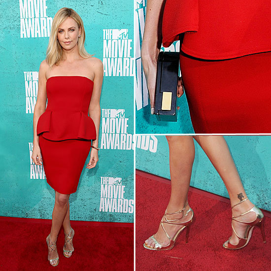 Pictures of Charlize Theron Strapless Red Lanvin Dress on the red carpet at the 2012 MTV Movie Awards: Rate it or Hate it?