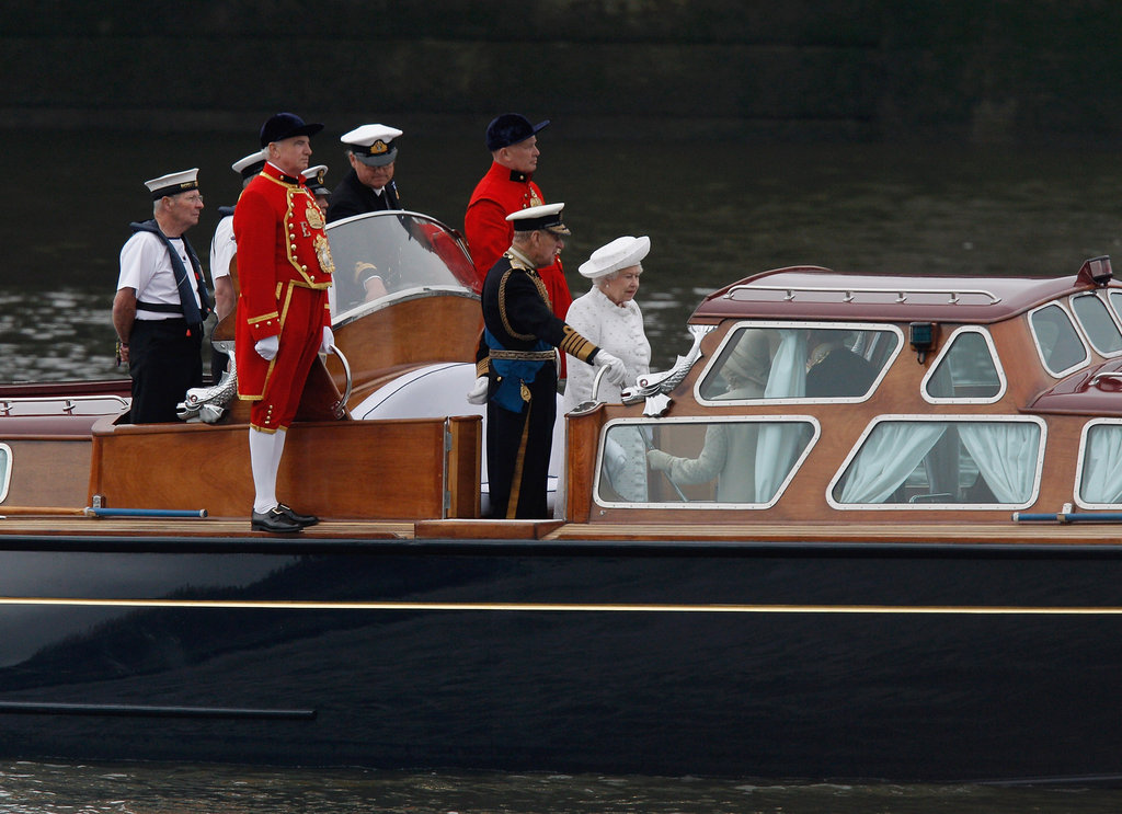 The queen's launch headed down the river to begin the Thames Diamond Jubilee Pageant.