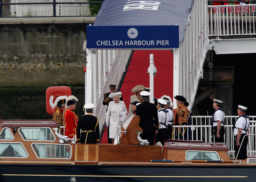 The queen walked down the gangway to her launch ahead of the Thames Diamond Jubilee Pageant.
