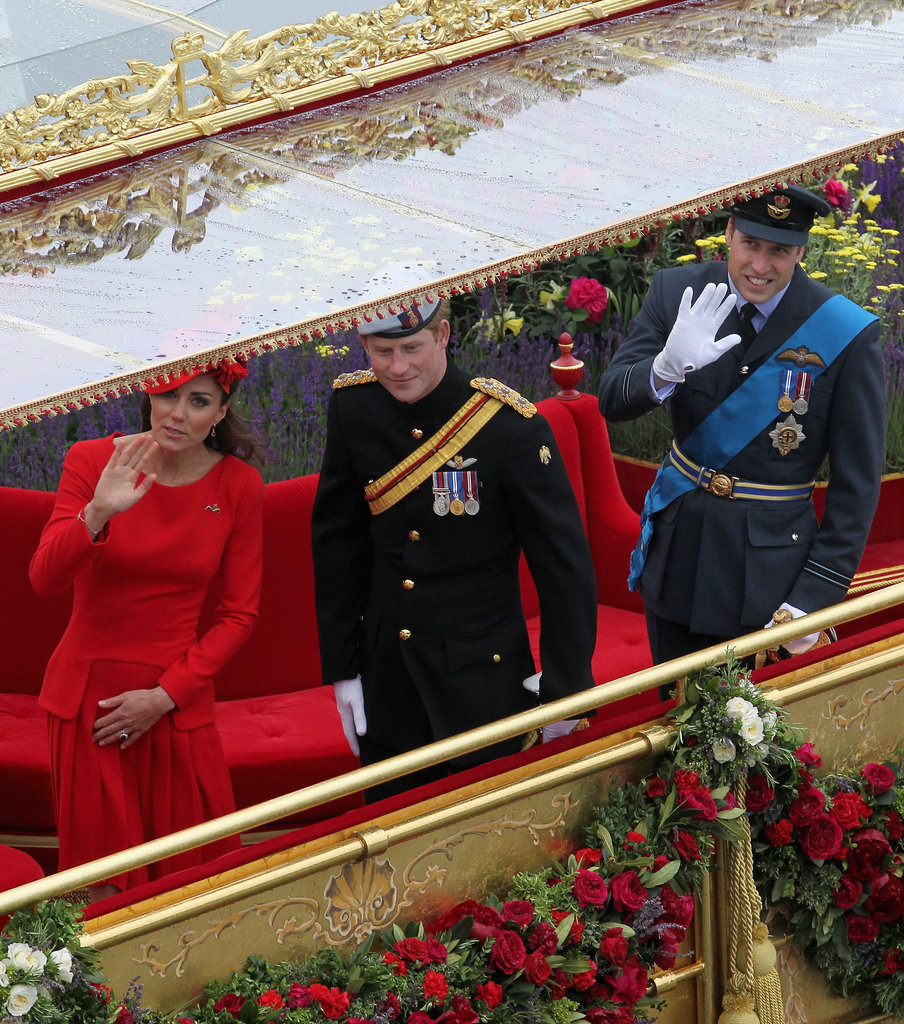 Kate Middleton, Prince Harry, and Prince William participated in the pageant.