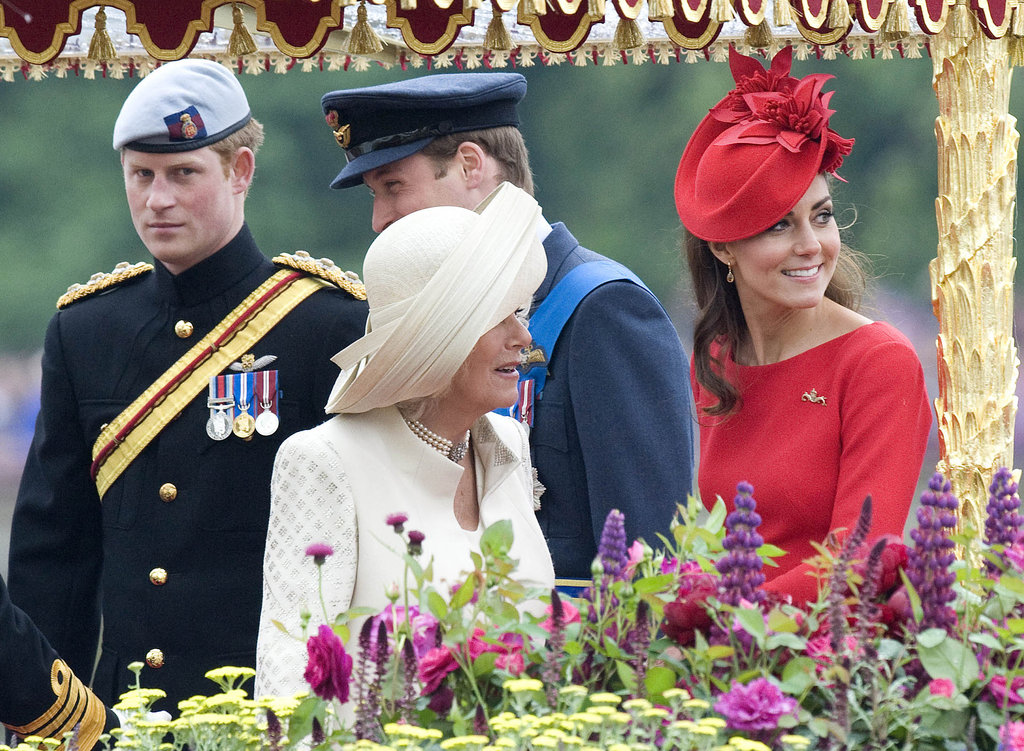 Prince Harry; Camilla, duchess of Cornwall; Prince William, duke of Cambridge; and Catherine, duchess of Cambridge, looked on from the ship during the Thames Diamond Jubilee Pageant.
