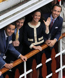Charlie Gilkes, Michael Middleton, Pippa Middleton, and James Middleton waved.