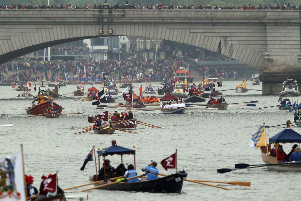Boats lined up for the Diamond Jubilee River Pageant.