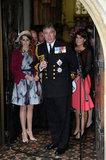 Prince Andrew was flanked by daughters Princess Beatrice and Princess Eugenie as he addressed the crowds.