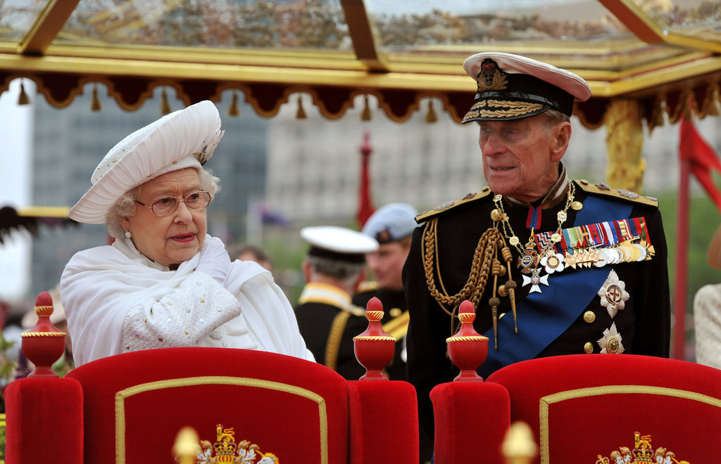 The queen and her husband stood together on the royal barge for the Thames Diamond Jubilee Pageant.