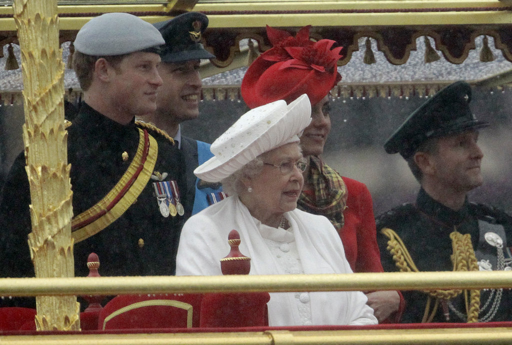 The royal family looked on during the Thames Diamond Jubilee Pageant.