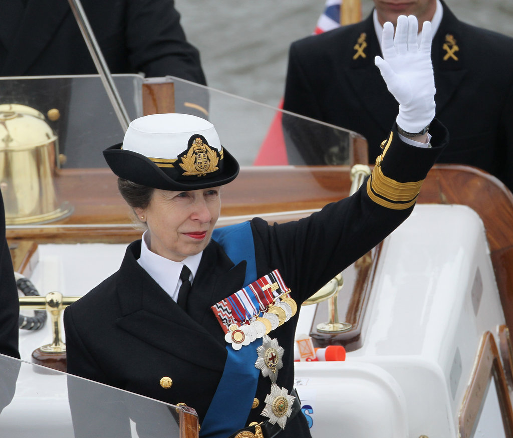 Princess Anne waved to revelers.