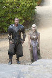 Iain Glen as Ser Jorah and Emilia Clarke as Daenerys on Game of Thrones.