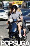 Jason Sudeikis and Olivia Wilde both wore helmets as they drove around NYC on a Vespa.