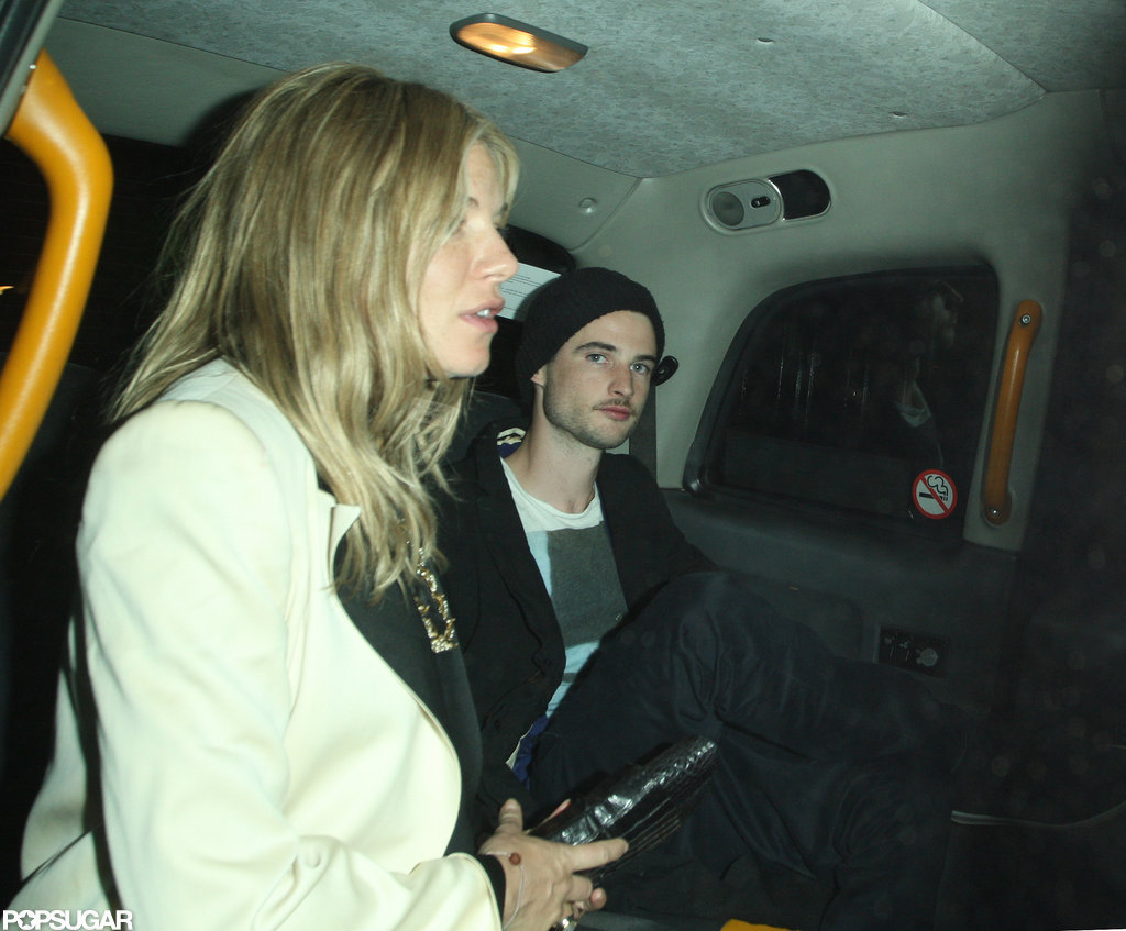 Sienna Miller took a taxi ride with fiancé Tom Sturridge.