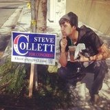 Stephen Colletti joked around with a campaign sign. Source: Instagram user stephencolletti
