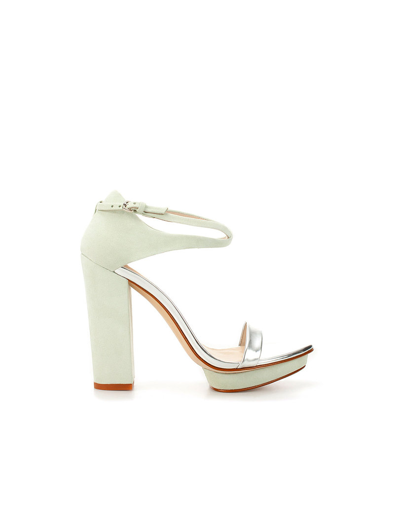 These heels have the most subtle of mint hues, and the pop of silver metallic is to die for.  Zara Platform Sandal ($100)