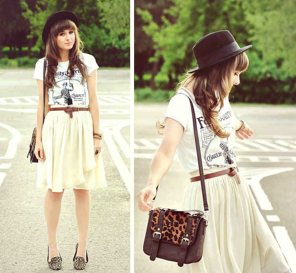 Quirk-ify your pretty chiffon skirt with a vintage t-shirt and exotic loaders. Photo courtesy of Lookbook.nu
