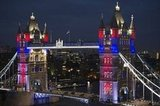 The Tower bridge was illuminated with the colors of the Union Jack flag.