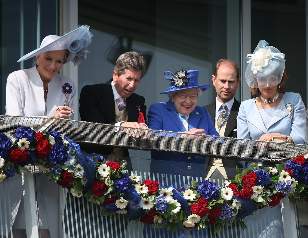 Queen Elizabeth is joined with Princess Michael of Kent, her racing manager John Warren, and Prince Edward, Earl of Wessex at Diamond Jubilee Derby.