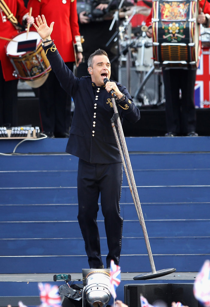 Robbie Williams got animated onstage for a performance during the Diamond Jubliee concert in London.