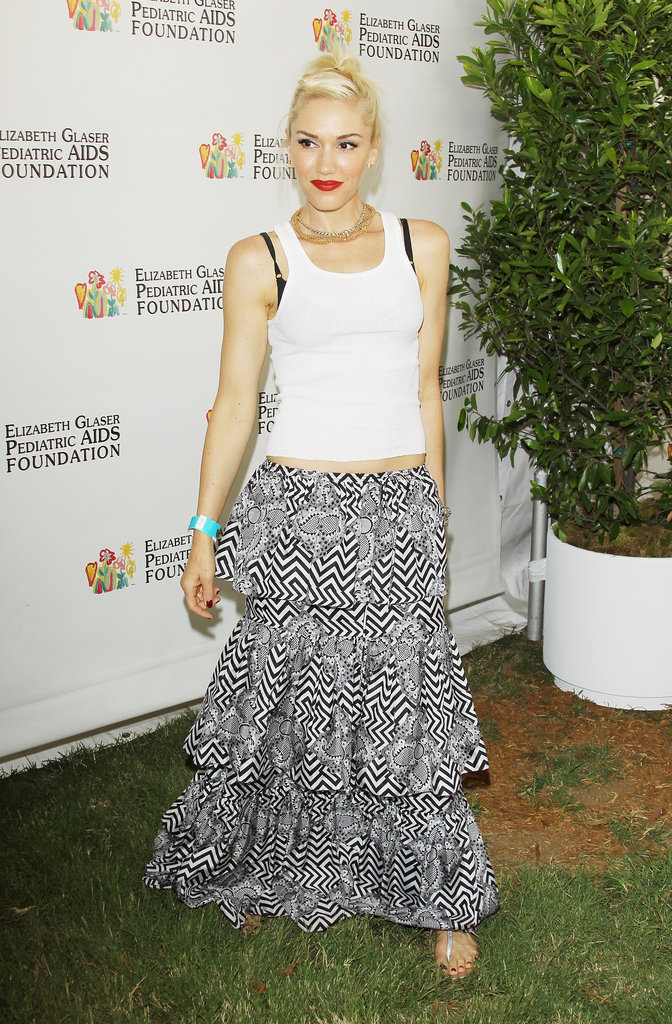 Gwen Stefani wore a white tank top and a long skirt to the annual A Time For Heroes Celebrity Picnic in LA.