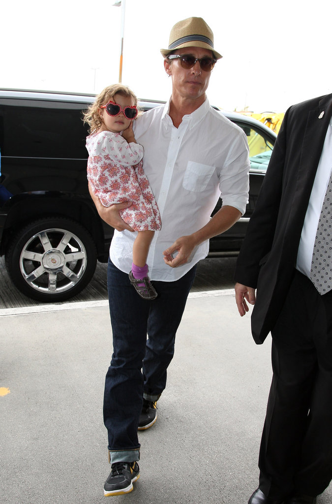 Matthew McConaughey Jets Out of LA With His Adorable Family