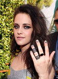 Kristen Stewart showed off her dark Repossi ring.