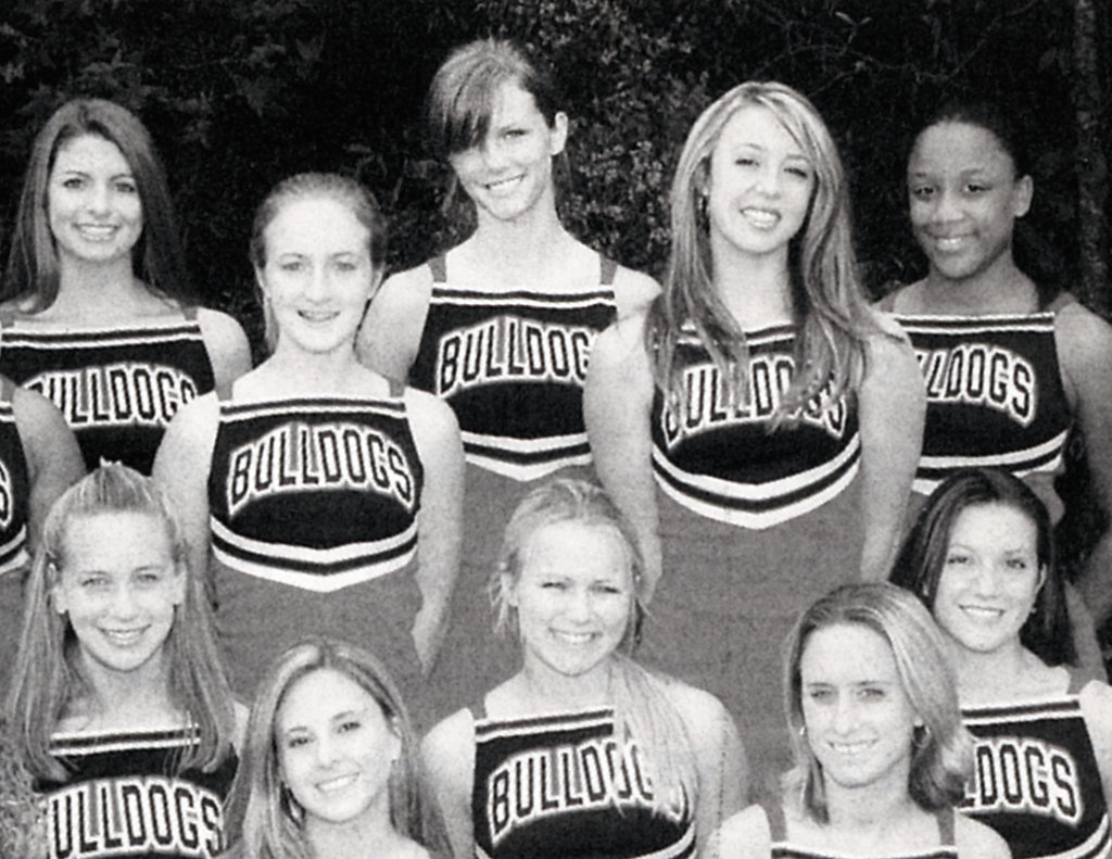 Brooklyn Decker, top center, wore a Bulldogs cheer uniform before taking on the runway.