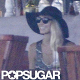 Stacy Keibler wore a black hat in Mexico.