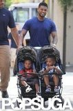 Usher took care of sons Cinco and Usher V in West Hollywood in June 2011.
