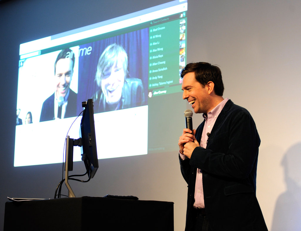 Ed Helms video chatted at the Airtime launch.