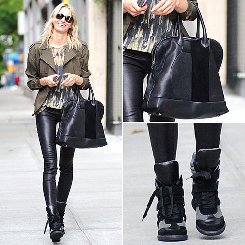 Karolina Kurkova Leather Leggings, High-Tops