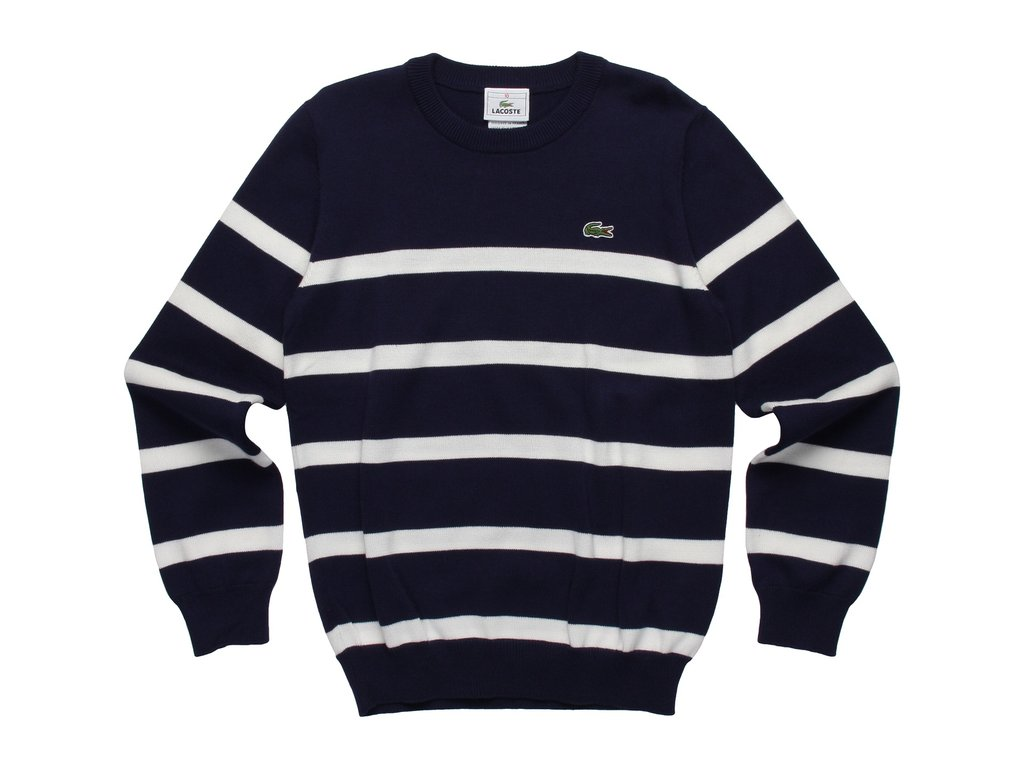 Lacoste Crewneck Stripe Cotton Sweater ($50)