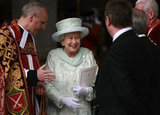 The queen left St. Paul's Cathedral in good spirits.