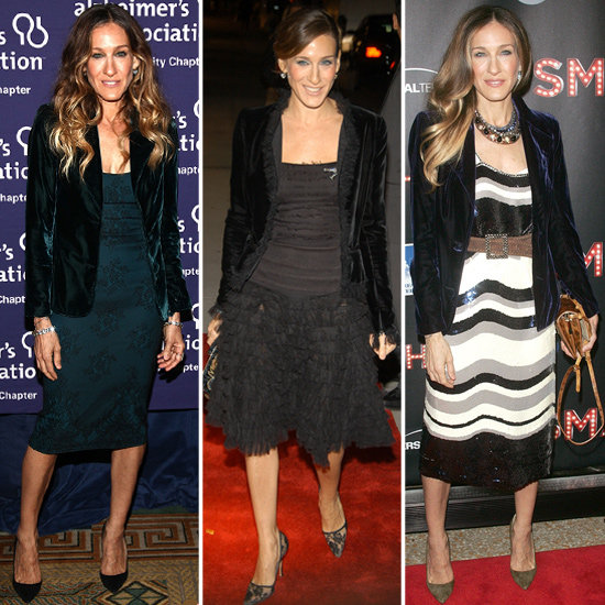 We're Onto SJP's Party Style: Embellished Dresses + Velvet Blazers