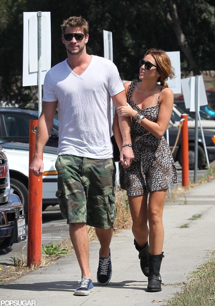 Miley Cyrus showed Liam Hemsworth love in LA in July 2010.