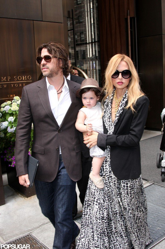 Rachel Zoe and Rodger Berman left the Trump SoHo with baby Skyler.