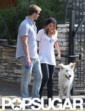 Miley Cyrus and Liam Hemsworth took their dog for a walk around LA in June 2010.